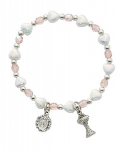 Heart and Pink Glass Bead First Communion Stretch Bracelet [MV1035]