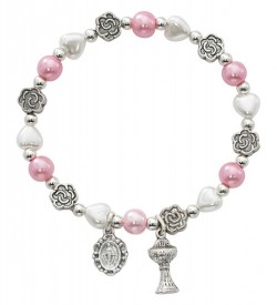 Hearts and Metal Flowers First Communion Stretch Bracelet [MV1037]