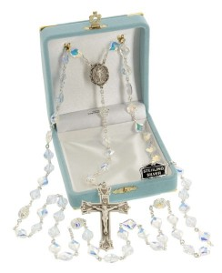 Heirloom Sterling Silver Miraculous Rosary with 10mm Swarovski Crystal Beads [HMHR1000]