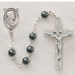 Hematite First Communion Sacred Heart Rosary - Rhodium [MVC0043]