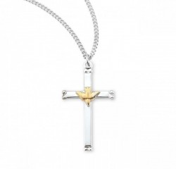 High Polish Cross Pendant with Holy Spirit Center [HM0747]