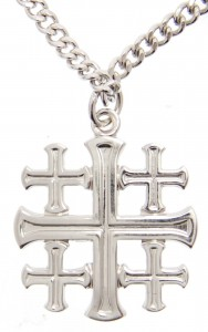 Men's High Polish Jerusalem Cross Pendant with Chain [HM0797]