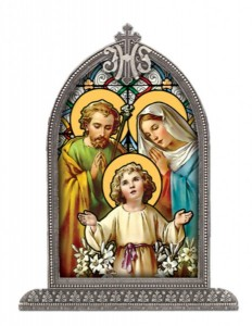 Holy Family Glass Art in Arched Frame [HFA8311]
