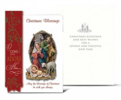 Holy Family with Red Side Banner Christmas Card Set [HRCR806]
