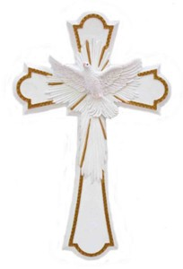 Holy Spirit Confirmation Cross in White - 8 inch [GSS061]