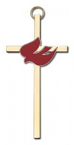 "Holy Spirit Wall Cross with Red Dove 4"" [CRB0010]"