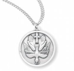 Holy Trinity Round Dove Necklace for Men or Women [HMM3387]