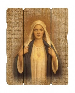 Immaculate Heart of Mary Wall Plaque in Distressed Wood [HFA4615]