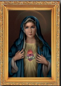 Immaculate Heart of Mary Antique Gold Framed Print [HFA0080]