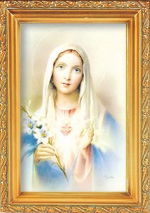 Immaculate Heart of Mary Antique Gold Framed Print [HFA0083]
