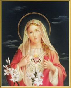 Immaculate Heart of Mary Gold Framed Print [HFA0240]