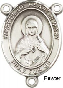Immaculate Heart of Mary Rosary Centerpiece Sterling Silver or Pewter [BLCR0435]