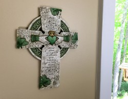 "Irish Claddagh Wall Cross, Hand Painted Resin - 10""H [GFC1036]"