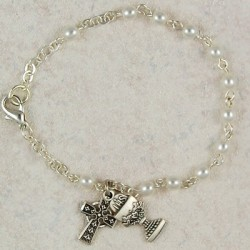 Irish First Communion Faux Pearl Bracelet with Chalice and Celtic Cross Charm [MVC065]