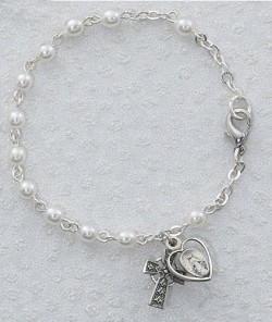 Irish First Communion Faux Pearl Bracelet with Miraculous and Celtic Cross Charm [MVC064]