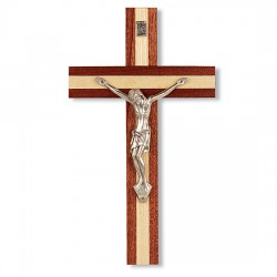 Italian Inlayed Wood Crucifix - 10 inch [CRX4335]