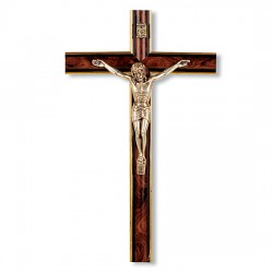 Italian Rounded Burl Wall Wood Crucifix - 10 inch [CRX4338]