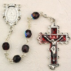 January Birthstone Rosary (Garnet) - Rhodium Plated [MVR013]