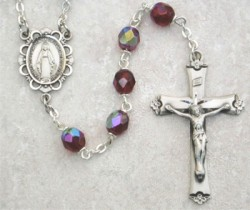 January Birthstone Rosary (Garnet) - Sterling Silver [MVR001]
