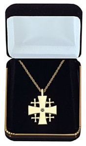 Jerusalem Cross Pendant with Gemstone Centerpiece [TCG0367]