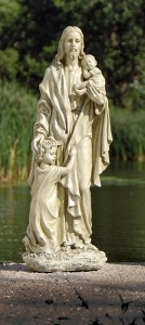 "Jesus with Children Outdoor Garden Statue - 24"" [GAR1026]"