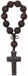 Jujube Wood One Decade Rose Bead Rosary - 13mm [RB9002]