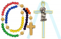 Kneeling Boy Cross with Baby Rosary Set [RBS0009]