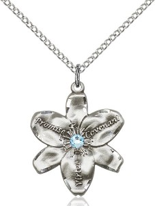Large Five Petal Chastity Pendant with Birthstone Center [BLST0089]