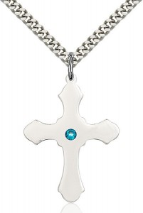Large High Polished Soft Edge Cross Pendant with Birthstone Options [BLST60371]