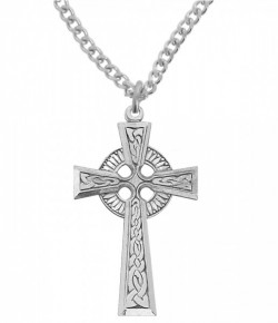 Large Men's Sterling Silver Celtic Cross Pendant [MVM1096]