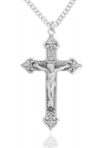 Large Men's Sterling Silver Crucifix Pendant with Crown Tips [HM0814]