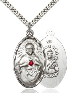 Large Oval Sacred Heart Pendant with Birthstone Options [BLST1654]