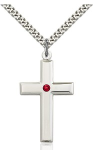 Large Plain Cross Pendant with Birthstone Options [BLST2192]