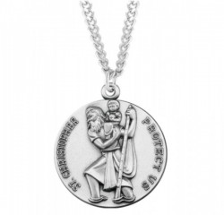Large Round Saint Christopher Necklace [HMM3411]