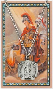 Large St. Florian Pewter Medal with Prayer Card [PC0101LG]