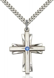 Large Women's Cross on Cross Pendant with Birthstone Options [BLST0677]