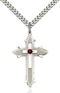 Large Women's Polished and Textured Cross Pendant with Birthstone Option [BLST6059]