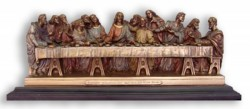 Last Supper Statue in Bronzed Resin on Base - 14.25 inches [GSCH005]