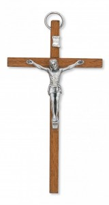 "Light Brown Wood Crucifix with Metal Corpus - 4""H [MVCR1049]"