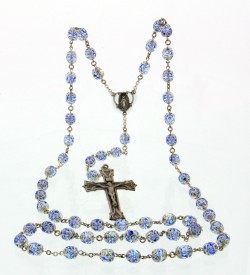 Light Sapphire Double Capped Swarovski Rosary Sterling Silver 8mm [HMRB009]
