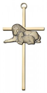 "Lion and Lamb Wall Cross 6"" [CRB0049]"