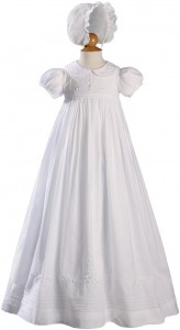 Long Beaded Cotton Heirloom Christening Gown [LTM001]