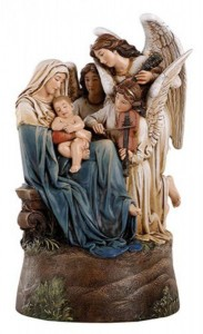 "Madonna and Child with Angels Musical Figurine 9"" High [CBST111]"