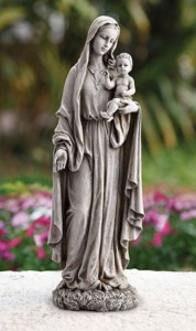 "Madonna and Child with Roses Base Garden Statue 23"" High [CBSD018]"