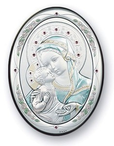 Madonna & Child Sterling Silver Plaque: 3 Sizes Available [PL3099]