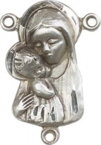 Madonna & Child Sterling Silver Rosary Centerpiece [BLCR0130]