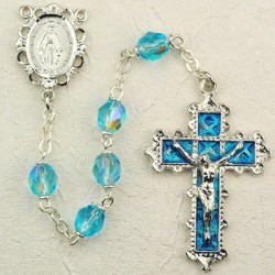 March Birthstone Rosary (Aqua) - Rhodium Plated [MVR015]