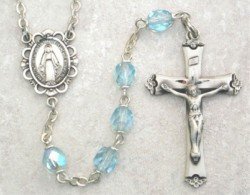 March Birthstone Rosary (Aqua) - Sterling Silver [MVR003]