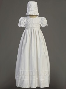 Marie Smock Cotton Long Length Baptism Gown  [LCC0010]