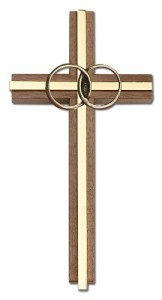 "Marriage Cross with Eternity Rings in Walnut 6"" [CRB0052]"